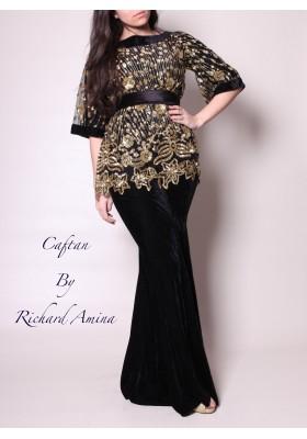 Caftan moderne noir robe dubai robe pas cher